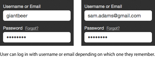A 'Username or Email' Field Helps Forgetful Users Log In