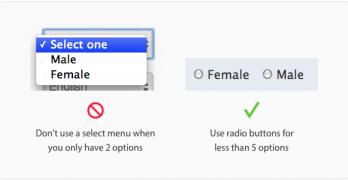 select menu-radio buttons