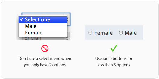 select menu-radio buttons